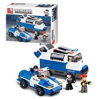 Детский конструктор SLUBAN M38-B0189, полиция, машина 2шт, фигурки 3шт, 337 деталей, в коробке, 33-28, 5-7см