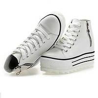 Черный / Белый - Женская обувь - Для прогулок / На каждый день - Ткань - На танкетке -Удобная обувь / С круглым носком / С закрытым 03854827