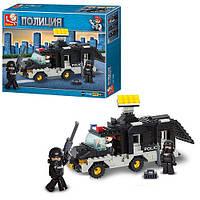 Детский конструктор SLUBAN M38-B1900, полиция, машинка, фигурки 2шт, 206 деталей, в коробке, 28, 5-23, 5-5, 5см