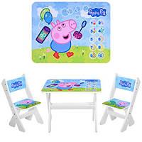 Детский стол + 2 стула свинка Пеппа, фото 1