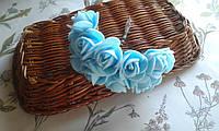 Роза з фоамірану 1,5-2см  яскраво голубий колір