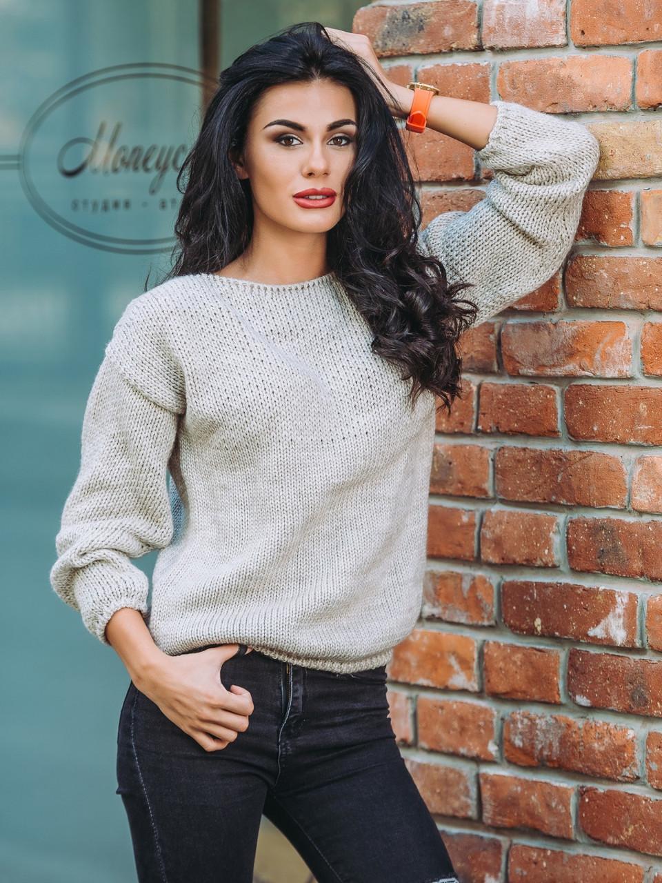 женский модный вязаный свитер бежевого цвета р44 48 продажа цена
