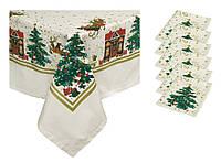 Новогодний набор скатерть и салфетки Новогодняя сказка
