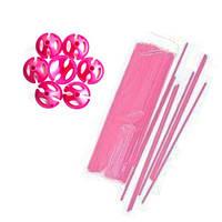 Палочки + зажимы для шаров розовые