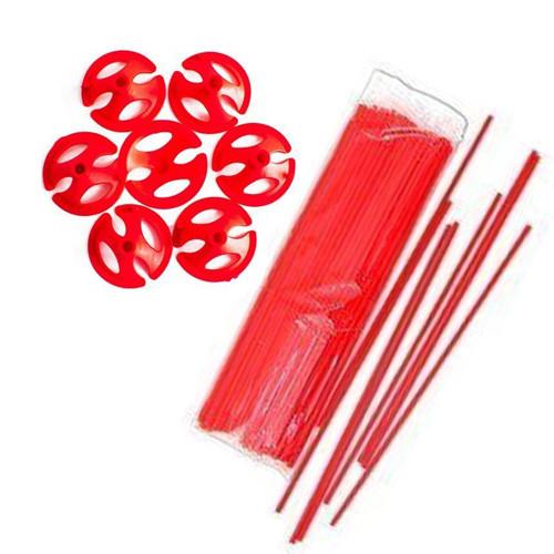 Палочки + зажимы для шаров красные