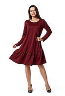 Женское красивое нарядное, вечернее  платье Паула  размеров 42, 44, 46, 48, 50, 52, 54, 56 бордового  цвета