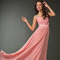 Вечерние платье макси в персиковом цвете