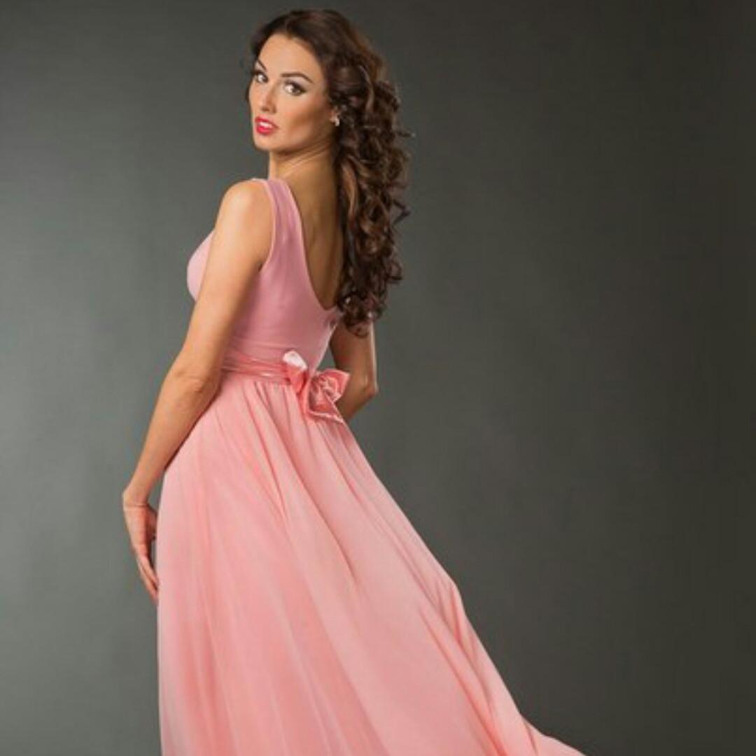 Прокат! Вечерние платье макси в персиковом цвете