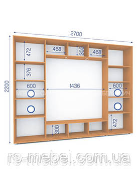 Шкаф купе (2200/2700/450), 3 двери