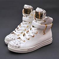 Кроссовки кожаные белые Y.S. питон