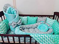 Бортики-защита+постельное бельё +конверт- плед+кокон+ортопедическая подушка