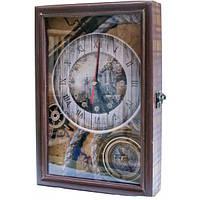 Деревянная ключница с часами Морская