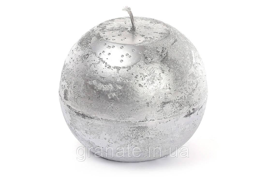 Свеча в форме шара 10 см, цвет - серебро, время горения 32 ч