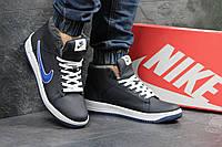 Зимние кроссовки Nike, чёрные с синним
