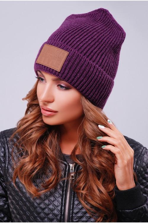 женская молодежная фиолетовая вязаная шапка продажа цена в киеве