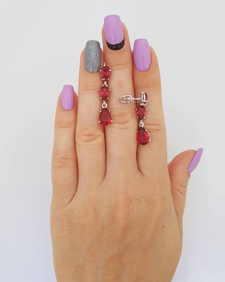 """Серебряные серьги с турмалином """"632"""""""