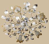 Белая с золотом люстра в стиле флористика 555/5 W