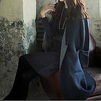 Женщины нового зимнего свитера кардиган длинный участок большого чистого цвета кардиган свитер с ветровкой женского пальто 05645104