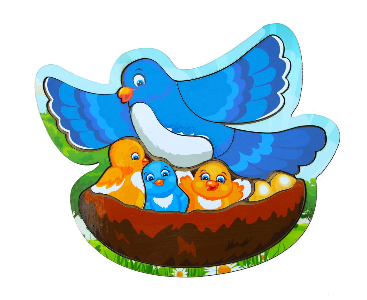 Деревянный вкладыш «Голубь с птенцами»