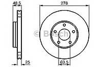 Тормозной диск Bosch 0 986 479 173 FORD, VOLVO