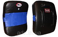 Макивара Изогнутая (1шт) Кожа TWINS KPL-4-BK-BU (поддержка для рук, р-р 43*63*10см, черный-синий)