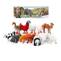 Животные QT036, 12шт(домашние, дикие), в кульке, 20-26-5см