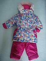 Детский зимний термокомбинезон Зимушка р.80-104 девочкам малиновый Хлопушка очень теплый, арт. 34