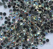 Стрази DMC, Crystal AB (хамелеон) SS16 з темно-сірим клеєм. Ціна за 144шт
