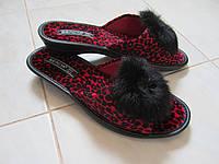 Женские тапочки Белста леопардовые красные