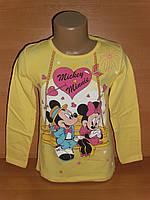 """Реглан для девочки """"Minnie & Mickey"""" желтого цвета"""