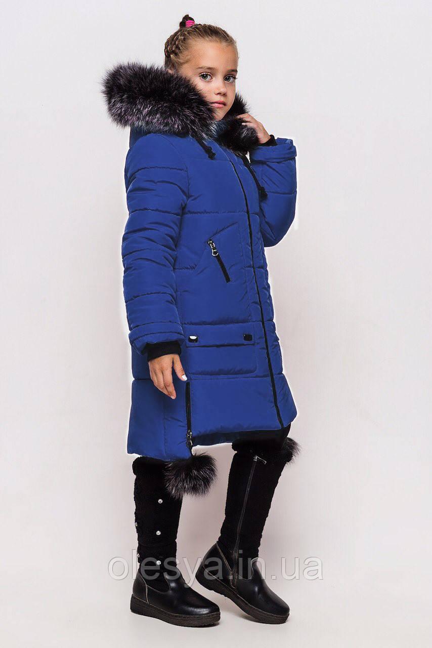 Пальто детское зимнее на девочку Лаура размер 158 Синее