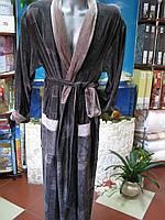 """Мужской облегченный махровый халат ТМ""""Nusa"""" темно коричневый в квадраты"""