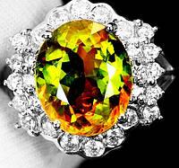 """Яркий перстень с султанитом  и белыми   сапфирами """"Северный"""", размер 16,8 от студии LadyStyle.Biz, фото 1"""