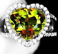 """Красивый перстень с султанитом  и белыми   сапфирами """"Сердце"""", размер 16,7 от студии LadyStyle.Biz, фото 1"""
