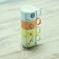 Набор чайный на 4 персоны на подставке Винтаж