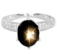 """Необычный  перстень """"Жемчужный"""" с  темным звездчатым сапфиром , размер 18,2  студия LadyStyle.Biz, фото 1"""