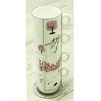 Набор чайный на 4 персоны на подставке Сакура