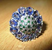 """Яркий перстень с танзанитами   """"Пион"""" , размер 17  от студии LadyStyle.Biz, фото 1"""