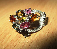 """Разноцветный перстень с цветными турмалинами """"Петля времени"""", размер 17.3  от студии LadyStyle.Biz, фото 1"""