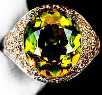 """Шикарный перстень с султанитом  и желтыми сапфирами """"Соблазн"""", размер 18 от студии LadyStyle.Biz, фото 1"""