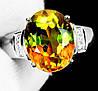 """Изящный перстень с султанитом и сапфирами  """"Елена"""", размер 19,3 от студии LadyStyle.Biz"""