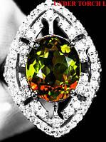 """Потрясающий перстень с султанитом  и белыми   сапфирами """"Око"""", размер 17,6 от студии LadyStyle.Biz, фото 1"""