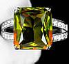 """Яркий перстень с султанитом  и белыми   сапфирами """"Квадро"""", размер 17,6 от студии LadyStyle.Biz"""