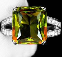 """Яркий перстень с султанитом  и белыми   сапфирами """"Квадро"""", размер 17,6 от студии LadyStyle.Biz, фото 1"""