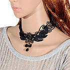 Чокер кружевной роза, ожерелье готика, черный, фото 3