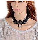 Чокер кружевной роза, ожерелье готика, черный, фото 5