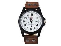 Мужские армейские часы Хinew Luxuary Кожаный ремень Коричневый, белый