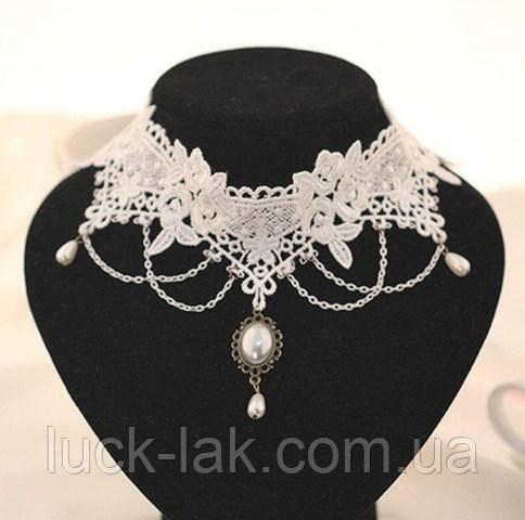 кружевное ожерелье белое