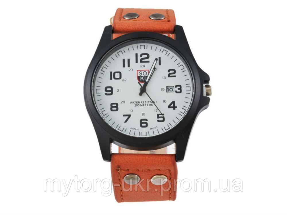 Чоловічі армійські годинник Хinew Luxuary Шкіряний ремінь Помаранчевий 5e25998010067