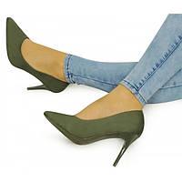 10-17 Серо-зеленые женские туфли на шпильке NLS-140423 39,40,41,38,37,36